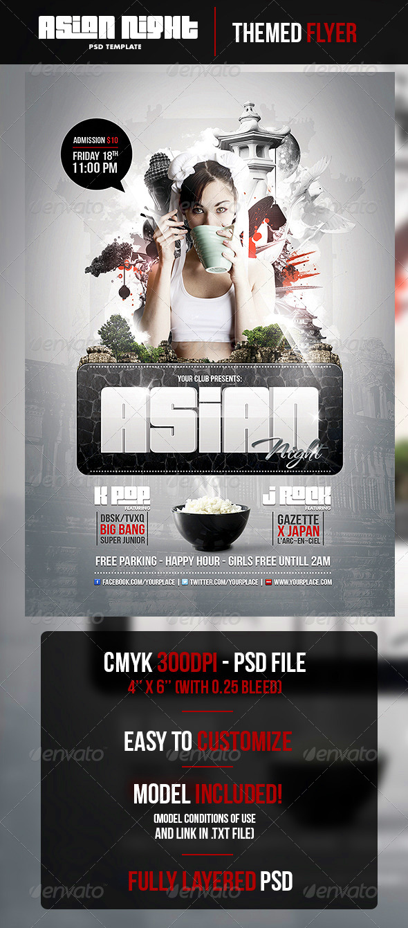 GraphicRiver Asian Night Flyer PSD Template 4469324