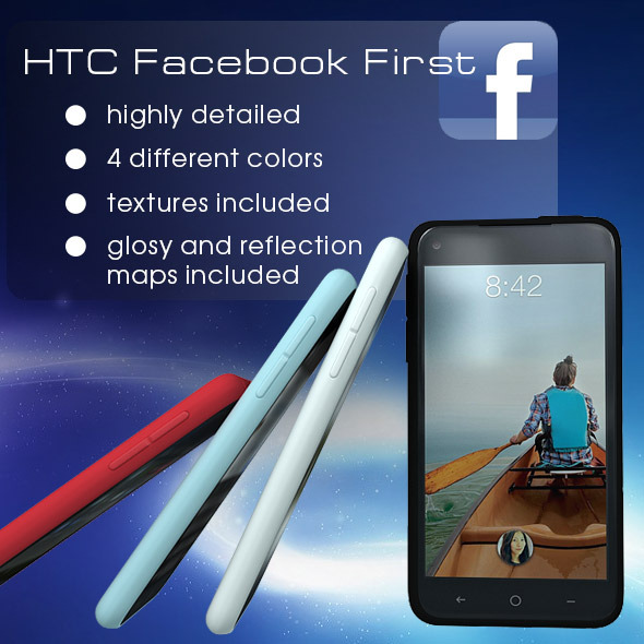3DOcean HTC First Facebok Phone 4 Colors 4471502
