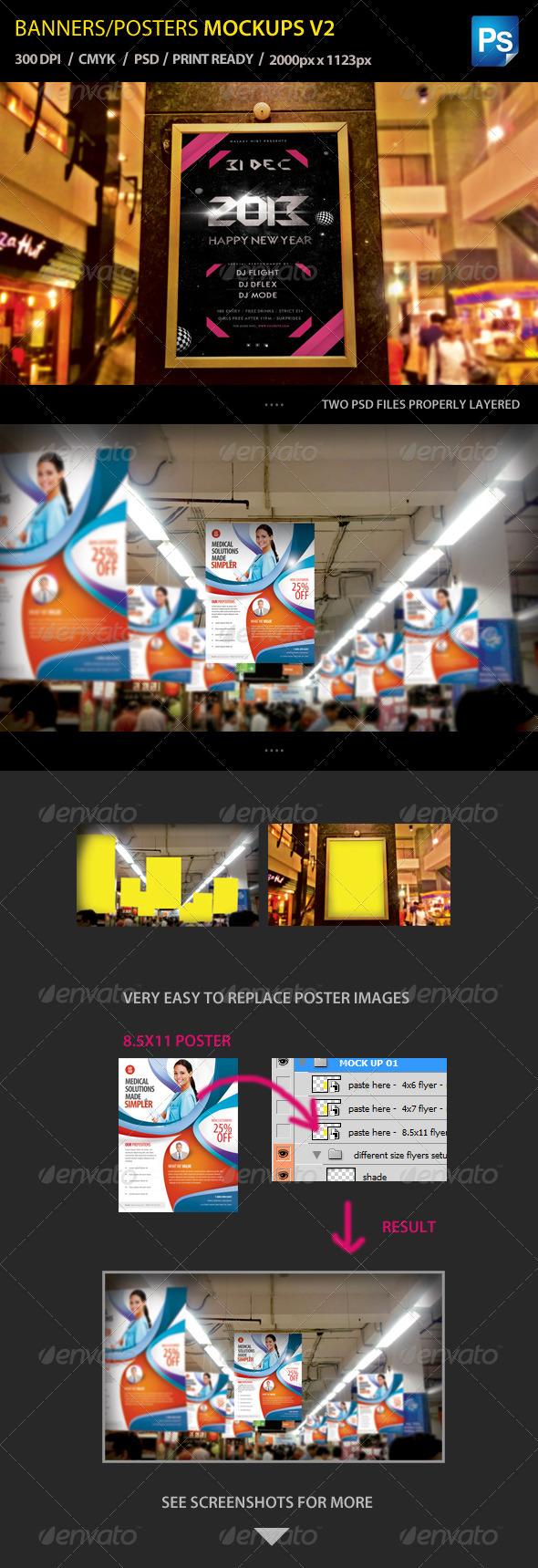 Flyer/Poster Mockups V2 - Signage Print