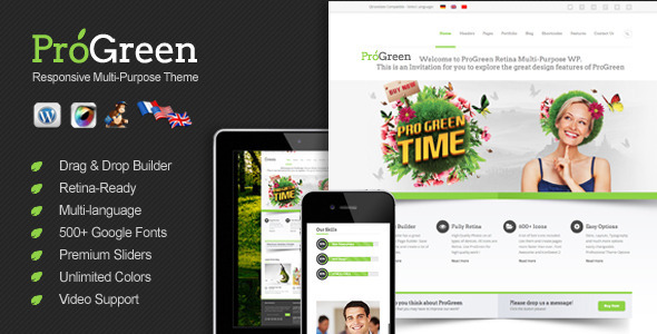 ThemeForest ProGreen Retina Responsive Multi-Purpose Theme 4465800