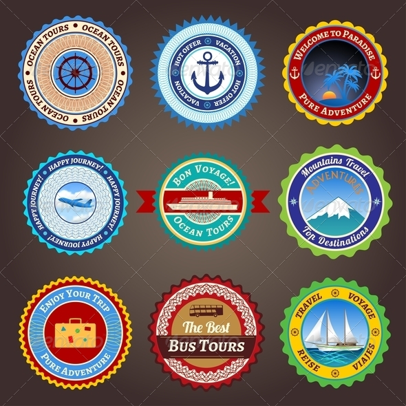 Travel Labels Badges and Stickers - Travel Conceptual
