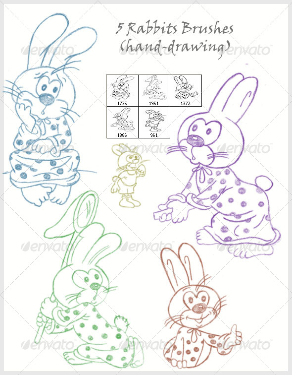 5 Rabbits Brushes (hand-drawing) - Brushes Photoshop