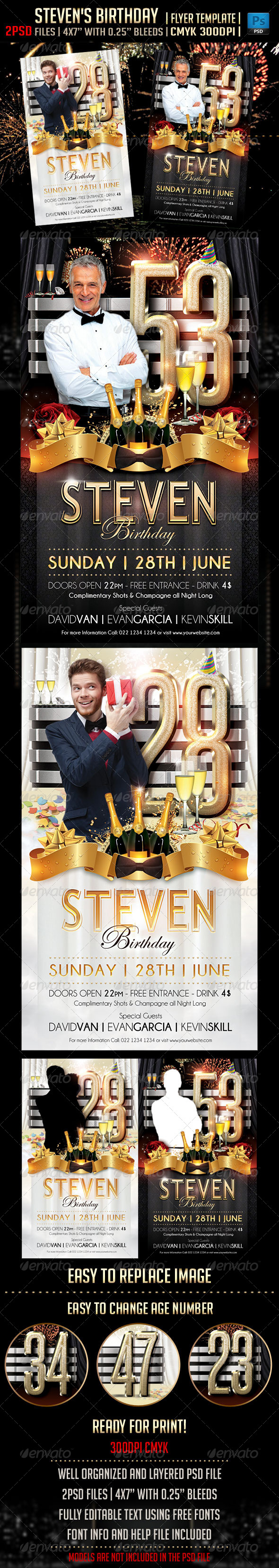 GraphicRiver Steven s Birthday Flyer Template 4473925