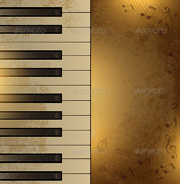 GraphicRiver Vintage Background with Piano 4474049