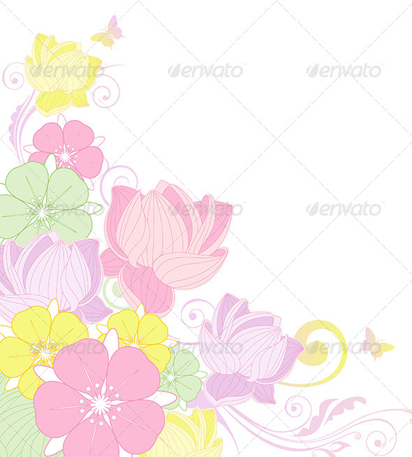 GraphicRiver Floral Background with Lotus 4474116