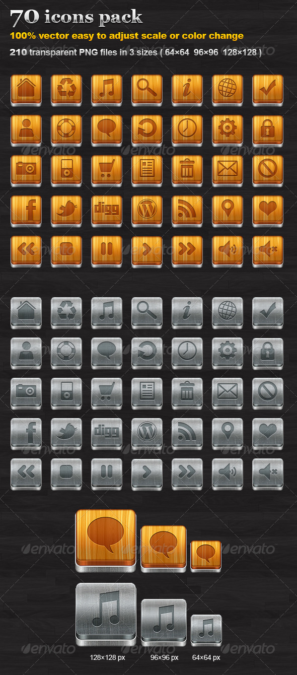 GraphicRiver 70 icons pack 474658