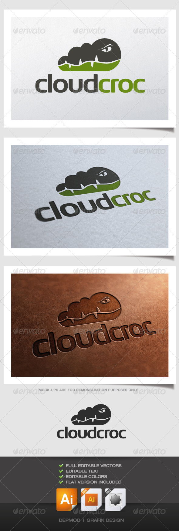 Cloud Croc Logo - Animals Logo Templates
