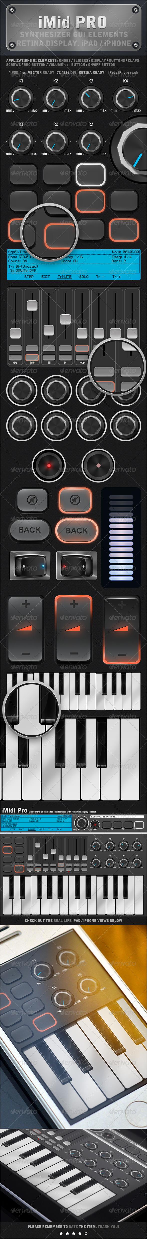 GraphicRiver iMidi iPad iPhone UI Elements 4475542