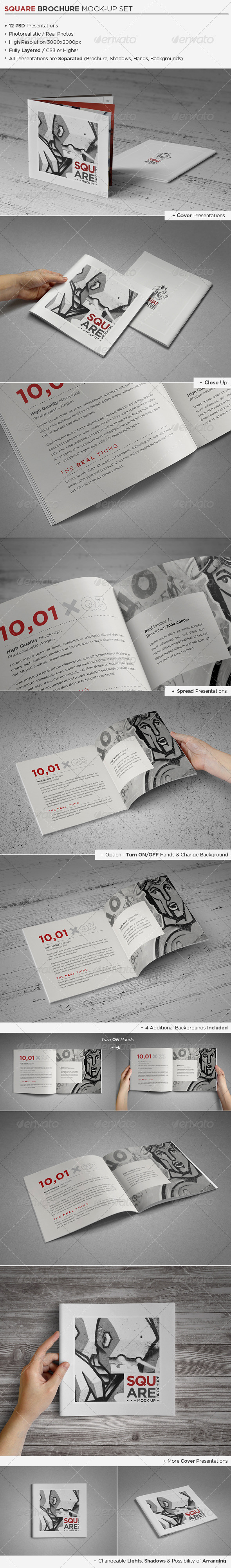 GraphicRiver Square Brochure Catalog Mock-Up Set 4476060
