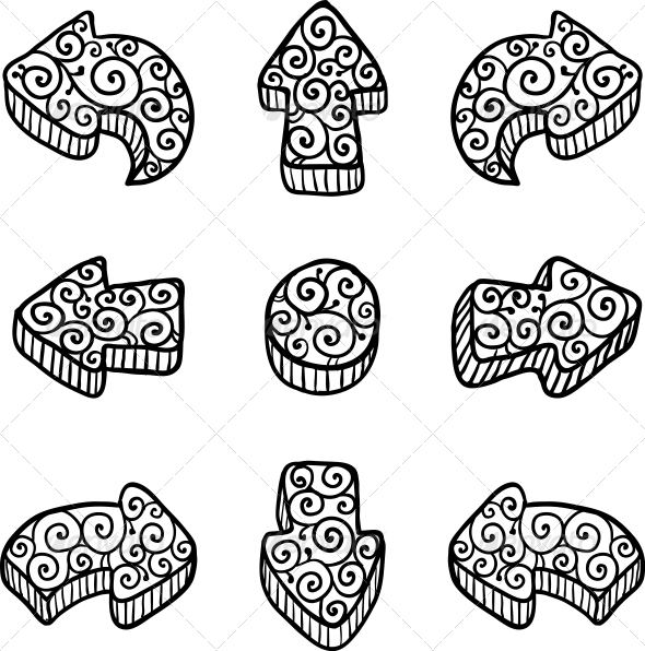 GraphicRiver Set of Black Vector Doodle Ornate Arrows 4476250