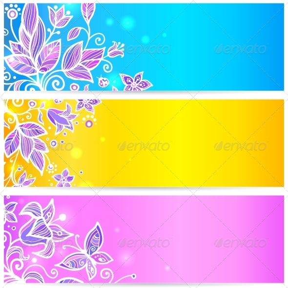 GraphicRiver Colorful Flower Banners 4476264