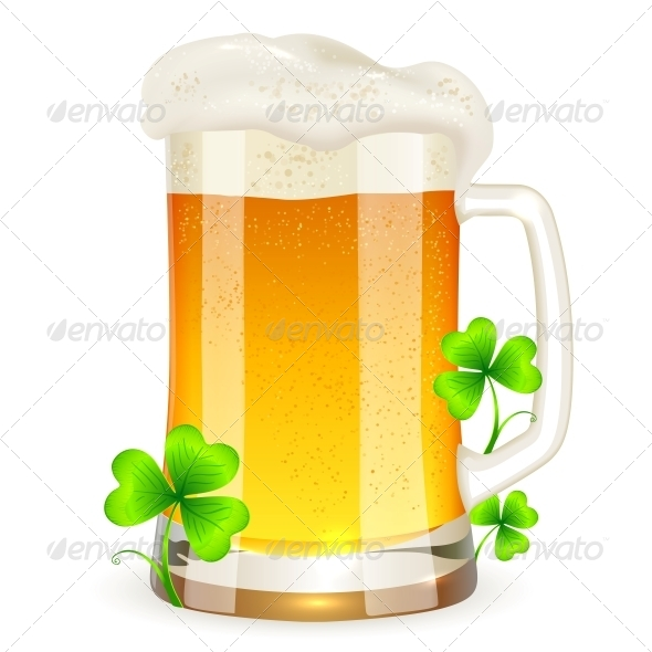 GraphicRiver Pint of Light Beer with Clovers 4476273