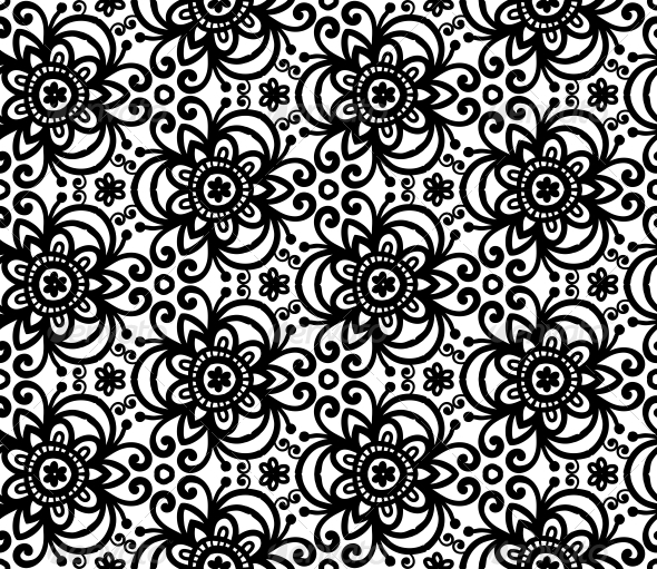GraphicRiver Black Abstract Flowers Seamless Pattern 4476292