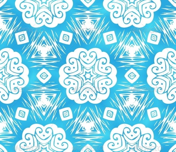 GraphicRiver Blue Abstract Snowflakes Seamless Pattern 4476651