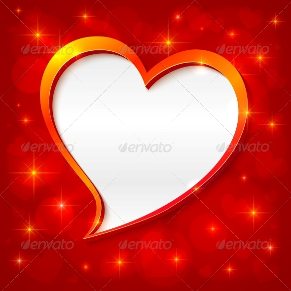 GraphicRiver Vector Golden Frame Valentines Greeting Card 4476722