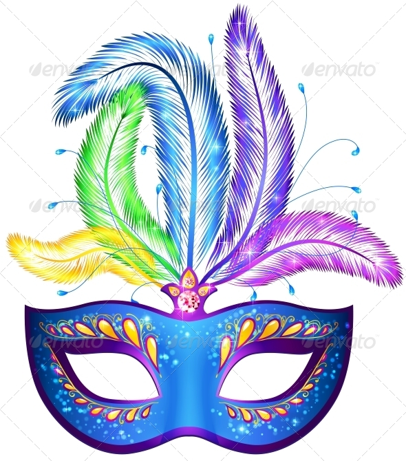 GraphicRiver Vector Venitian Carnival Mask with Feathers 4476732