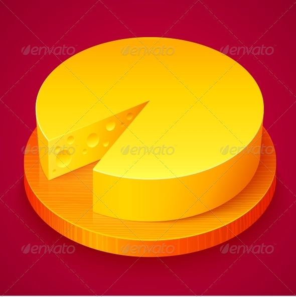 Round Yellow Cheese on Wooden Plate