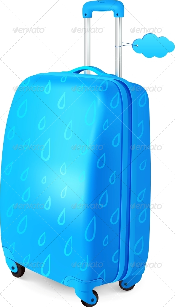 GraphicRiver Blue Travellers Suitcase with Rainy Pattern 4476754