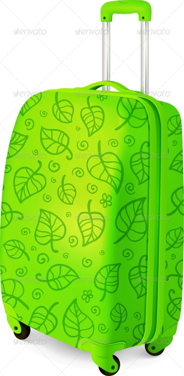 GraphicRiver Green Vector Travelling Baggage Suitcase 4476756