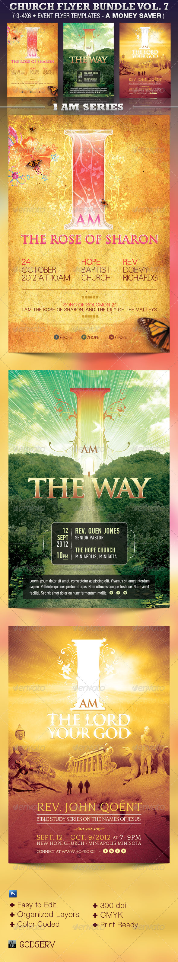 Church Flyer Template Bundle Vol 7 - I Am Series - Church Flyers