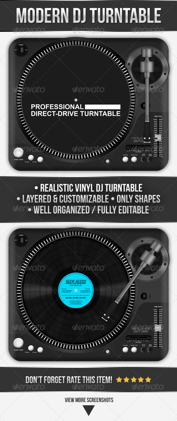 GraphicRiver Realistic Modern DJ Turntable 4424046