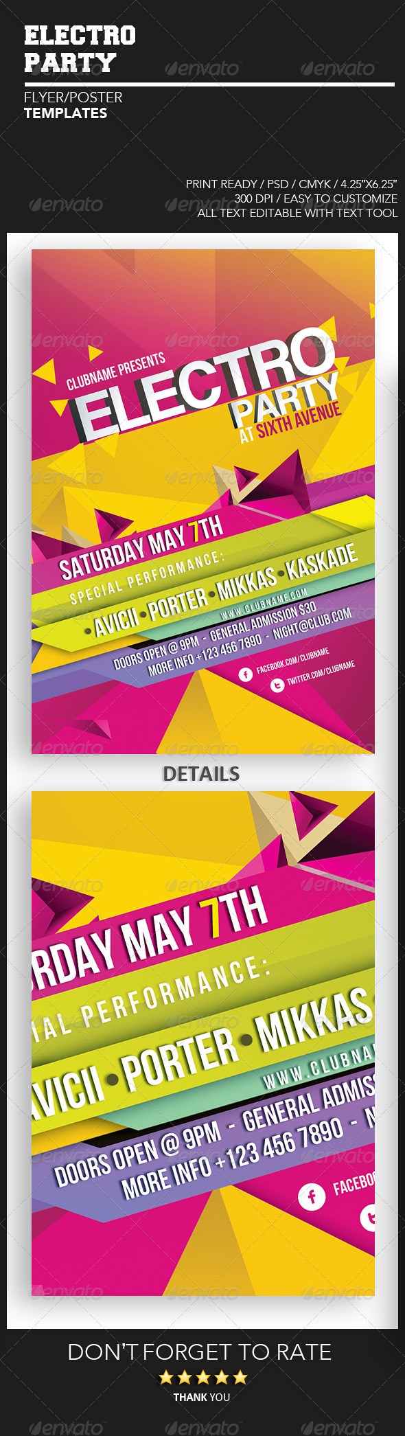 GraphicRiver Electro Party Flyer Template 4477171