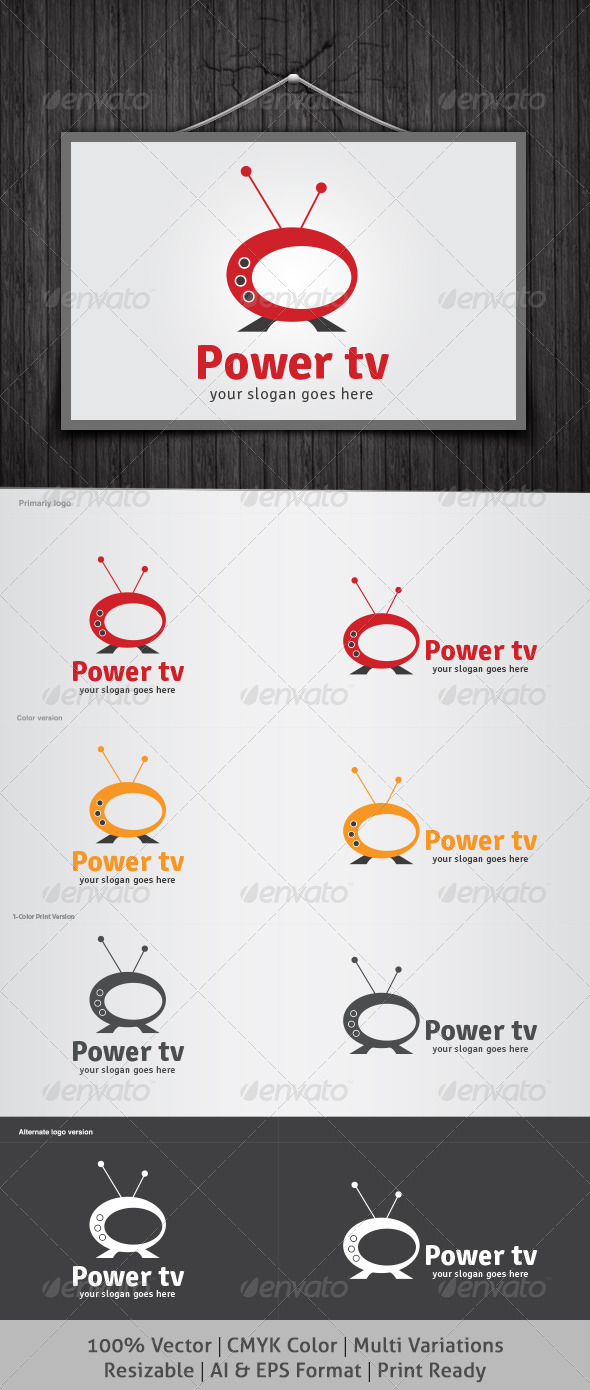 Power tv Logo - Objects Logo Templates