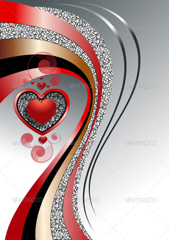 Pattern of Hearts with Bright Curved Strips - Stock Photo - Images