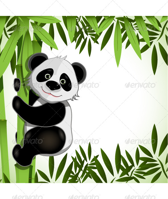GraphicRiver Cheerful Panda on Bamboo 4479641