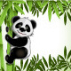 Cheerful Panda on Bamboo - GraphicRiver Item for Sale