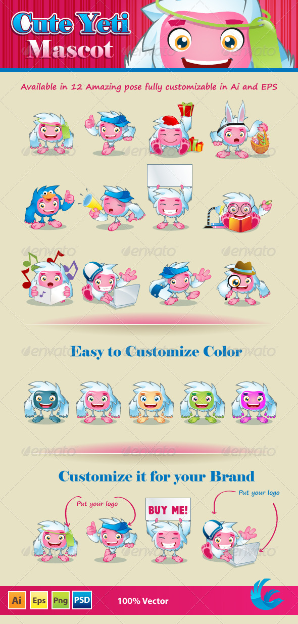 Cute Yeti Mascot - Animals Characters