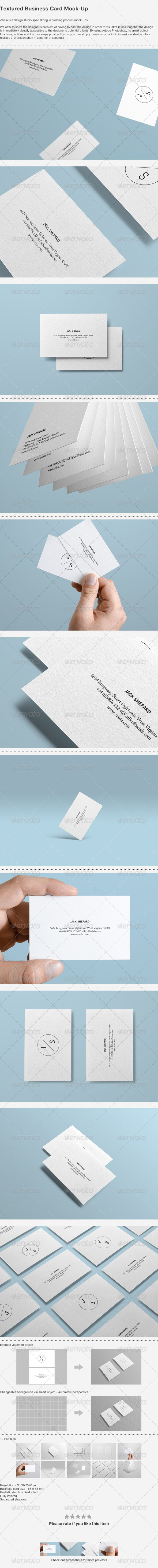GraphicRiver Textured Business Card Mock-up 4481265