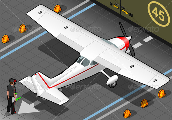 GraphicRiver Isometric White Plane in Rear View 4481527