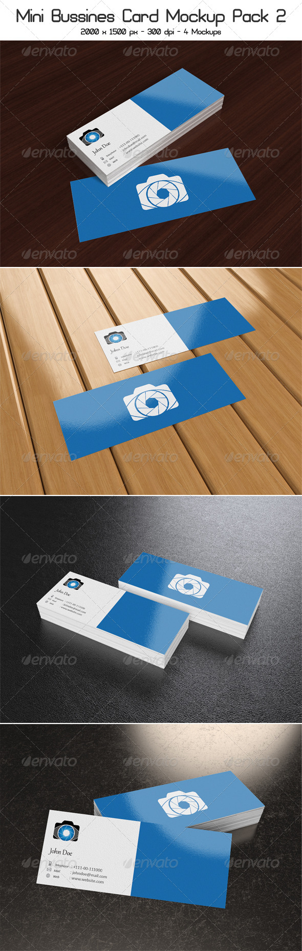 GraphicRiver Mini Business Card Mock-Up Pack 2 4481804