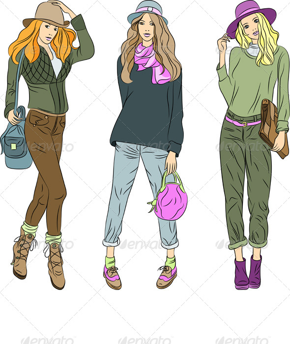 Vector Fashion Girls Top Models in Hats. - People Characters