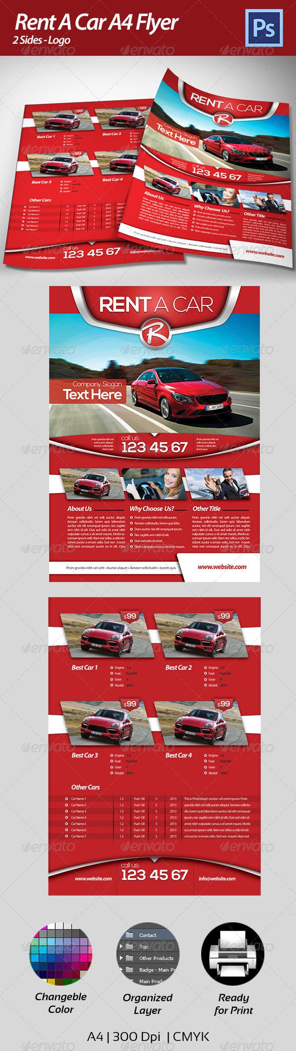 GraphicRiver Rent a Car Flyer 4396488