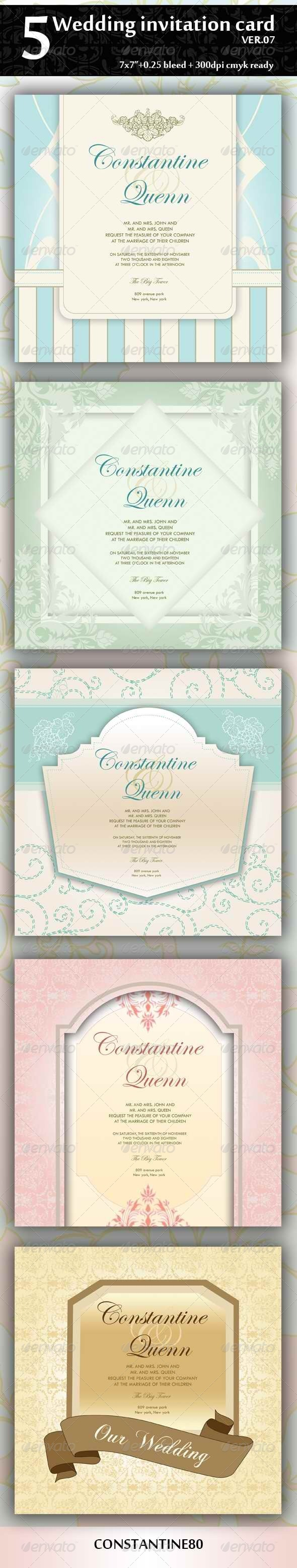 GraphicRiver 5 Wedding Invitation 7x7 ver07 4394247