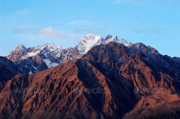 Landscape of snow mountains - Stock Photo - Images