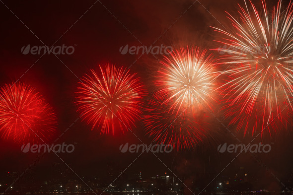 Night view and beauty of the fireworks at Pattaya beach, Thailand