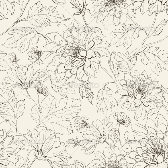 GraphicRiver Seamless Floral Pattern with Chrysanthemums 4483615