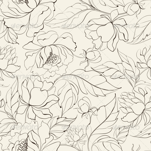 GraphicRiver Seamless Floral Pattern with Peony 4483620