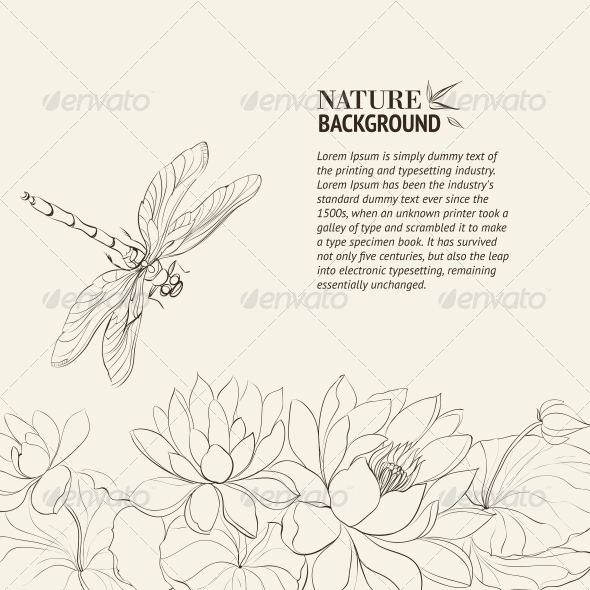 GraphicRiver Lotus Flower and Dragonfly 4483624