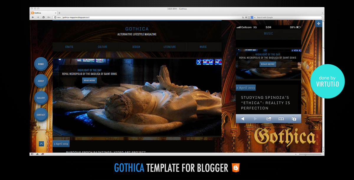 Gothica–All Purpose Dark Template For Blogger CMS