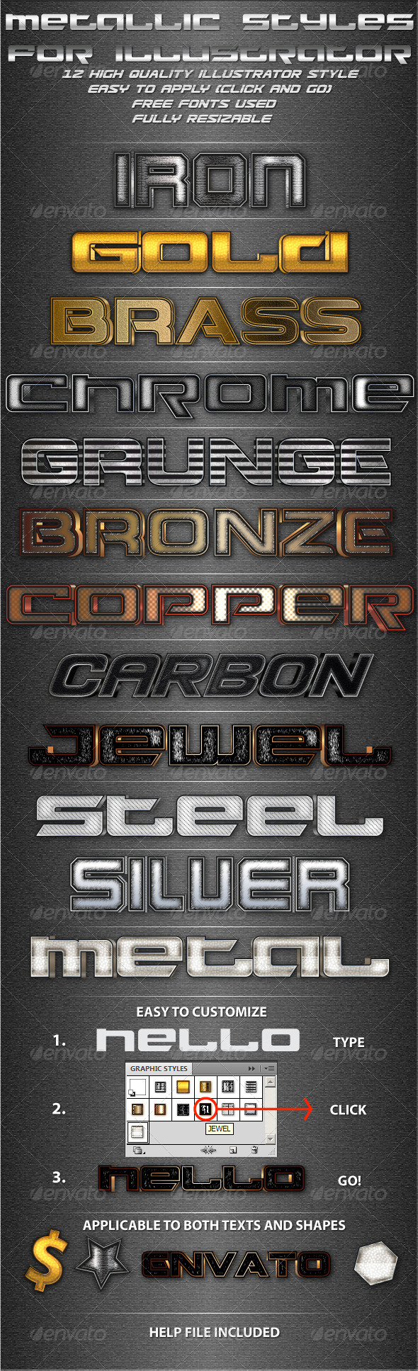 GraphicRiver Metallic Styles for Illustrator 4484097