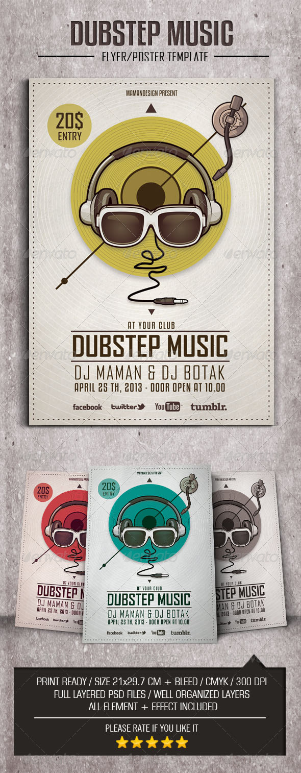 GraphicRiver Dubstep Music Flyer Poster 4484221