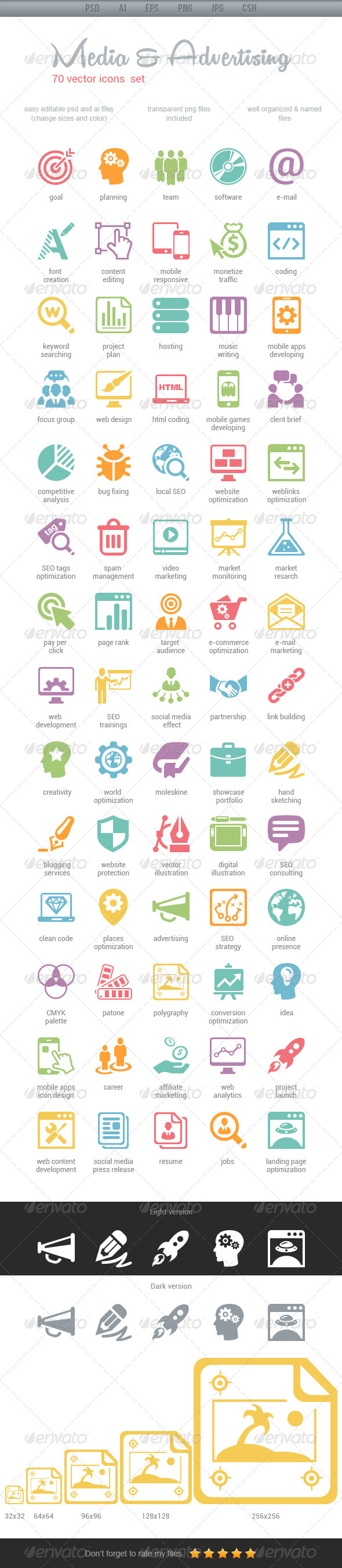 GraphicRiver Media & Advertising Icons 4484720