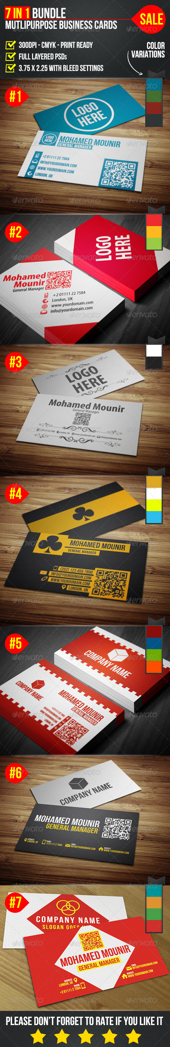 GraphicRiver Multipurpose Business Cards Bundle 4485137