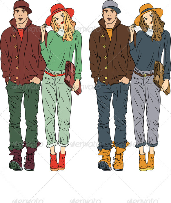 Vector Fashion Guy and Girl - People Characters