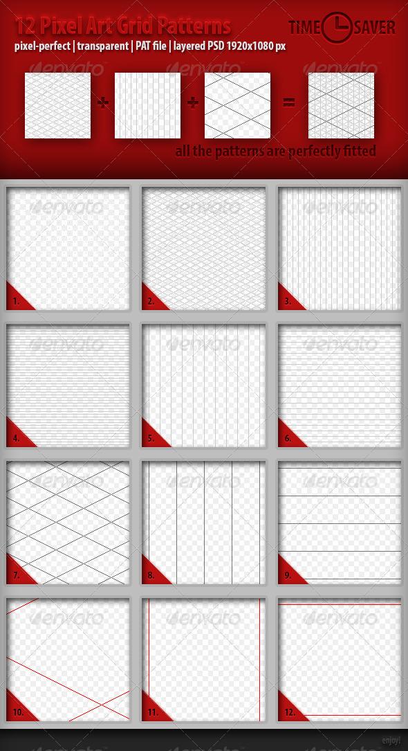 GraphicRiver 12 Pixel Art Grid Patterns 4485530