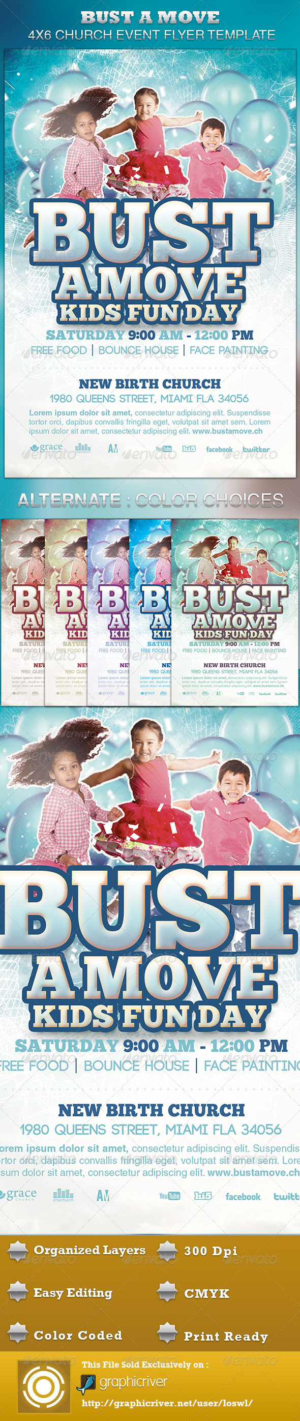 Bust A Move Church Event Flyer Template - Church Flyers